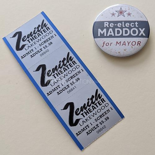 Scream The Series (TV) Zenith Theater Tickets + Maddox Button/Badge (0512)