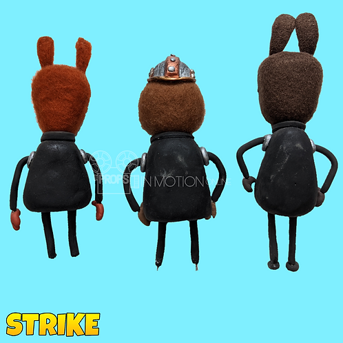Strike (2018) 3 Faceless Miner Stop Motion Puppets (S114)