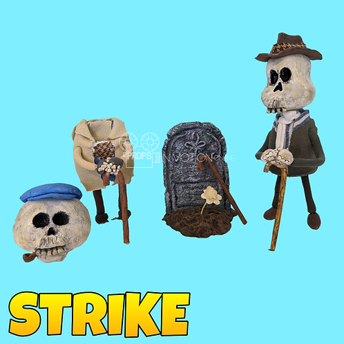 Strike (2018) Skeleton Stop Motion Puppets With Headstone (S66)
