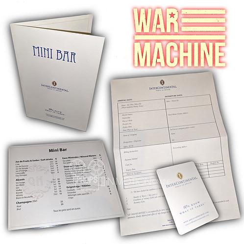 War Machine (2017) Hotel Room Keycard + Check in Sheet + Mini bar Menu