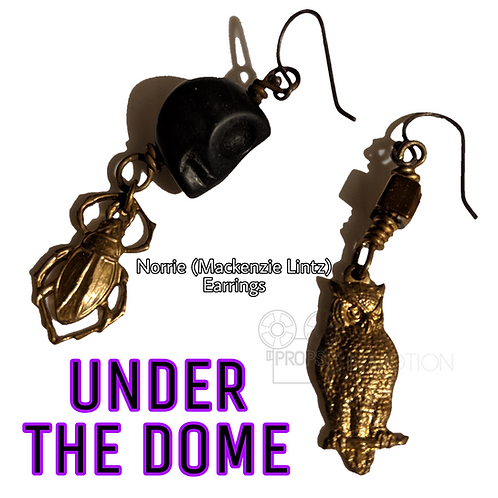 Under The Dome (2013-2015) Norrie's (Mackenzie Lintz) skull/owl earrings (0670)