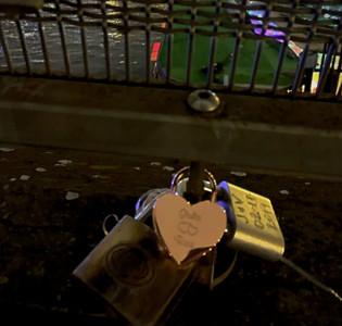 Our love lock on Pont des Arts