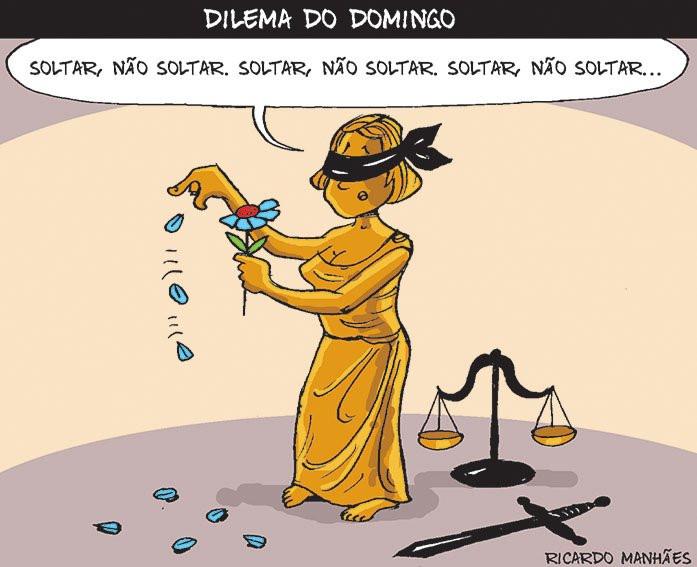 Justiça com venda nos olhos fazendo bem-me-quer mal-me-quer sobre soltar o Lula