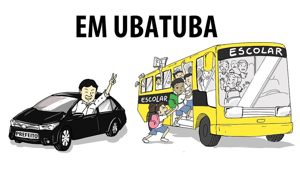 Ilustração mostra ônibus escolar com superlotação ao lado de carro de prefeito com apenas uma pessoa acenando