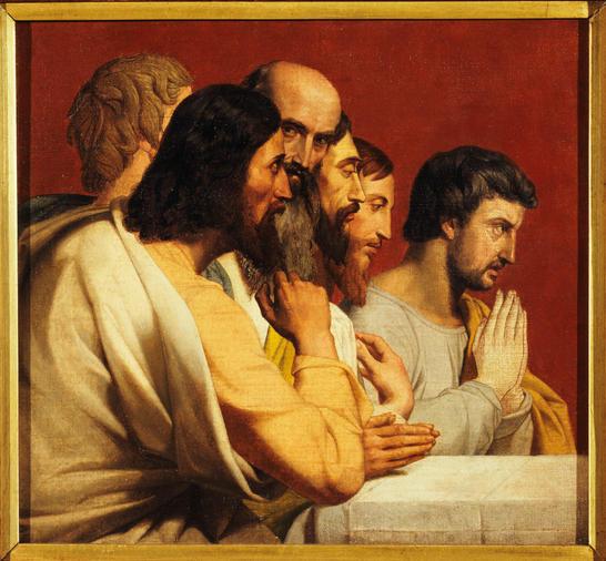 Esquisse pour l'église Notre-Dame de Lorette : groupe d'Apôtres lors de la Cène (tournés vers la droite)
