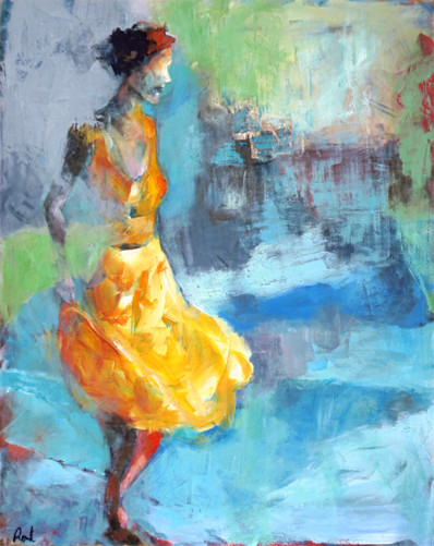 The girl in the yellow dress.