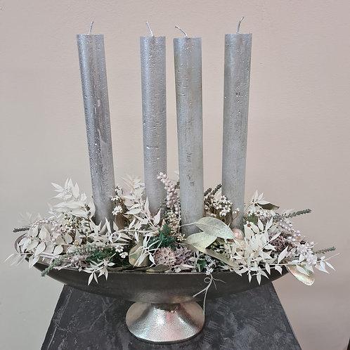 Adventgesteck silber, länglich mit 4 Kerzen
