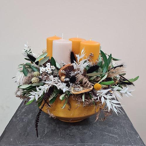 Adventgesteck Curry mit 4 Kerzen