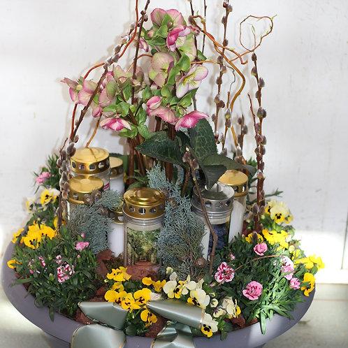 Pflanzschale Trauer mit Kerzen Saison
