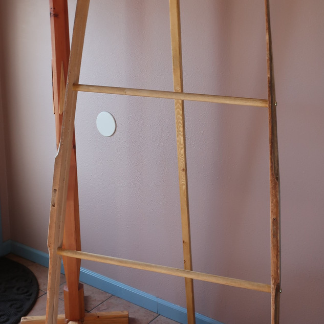 Coat Tree and Quilt ladder made of Nordic Skis with tripod feature