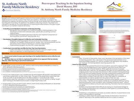 Peer-to-peer Teaching In The Inpatient Setting