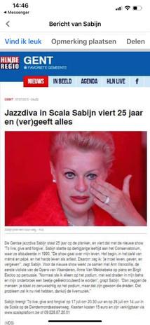 SABIJN - Jazzdiva in Scala - viert 25 jaar