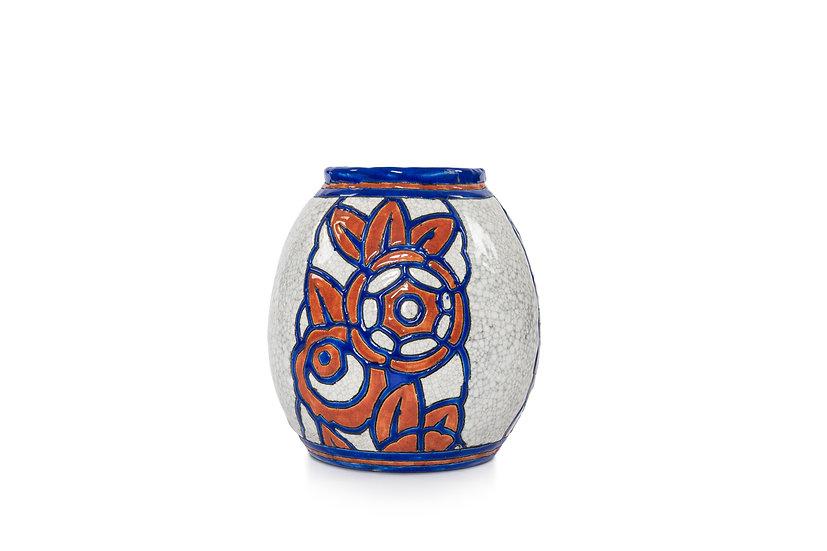 1129 BOCH FRERES KERAMIS - GEORGES TECQUEMENNE - Vase Florale - 1927