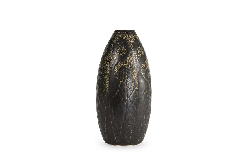 BOCH FRERES KERAMIS - CHARLES CATTEAU - Vase Les Flamants