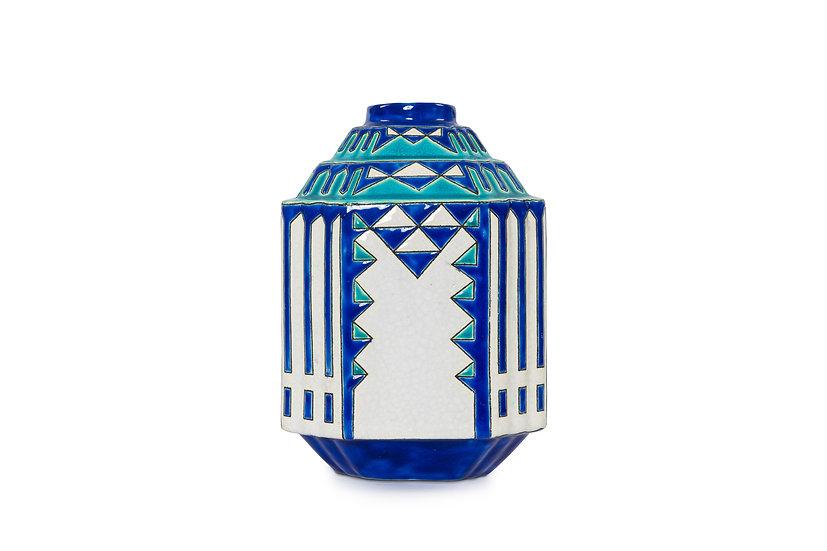BOCH FRERES KERAMIS - ERNEST TONDEUR - Vase Géométrique - 1928