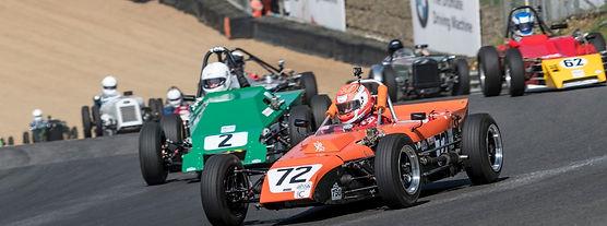 Historic 750 Formula racing cars at Brands Hatch race circuit