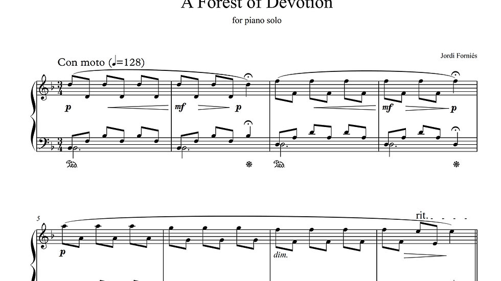 A Forest of Devotion - Piano Solo - Jordi Forniés