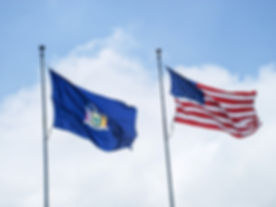 New York State Flag and American Flag