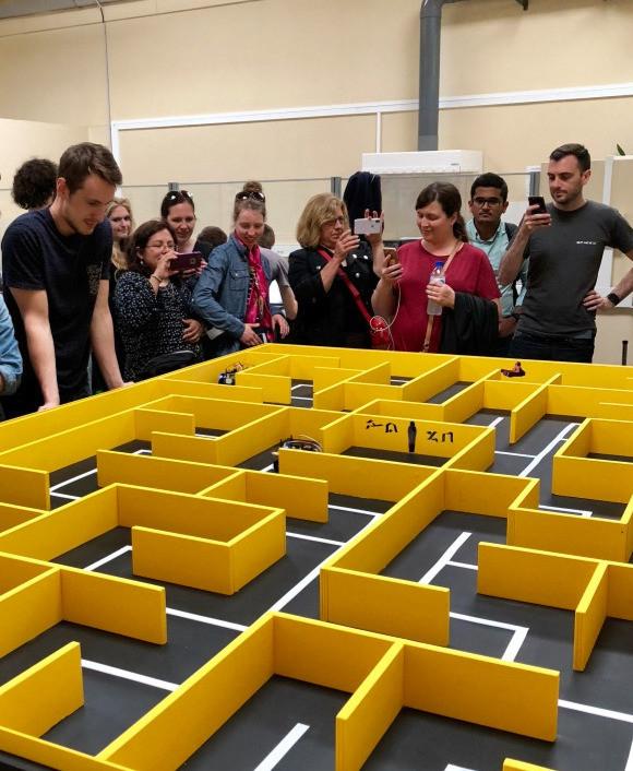 Amazed at the robot maze.