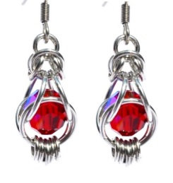 Swarovski Siam Captured Bead Earrings