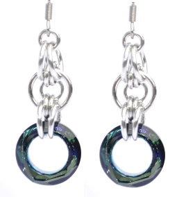 Bermuda Blue Swarovski Circular Earrings