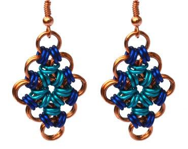 Cobalt, Maui, & Copper Diamond Shaped Earrings