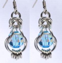 Swarovski Aquamarine Captured Bead Earrings