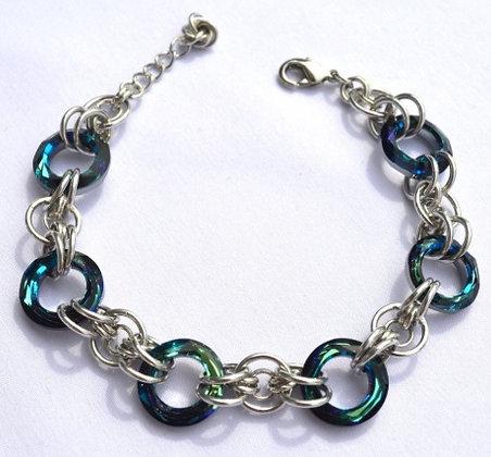 Circular Swarovski Bermuda Blue Bracelet