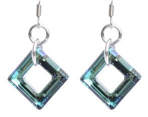 Bermuda Blue Swarovski Square Earrings