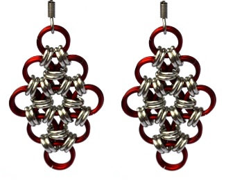 Marsala & Silver Diamond Shaped Earrings