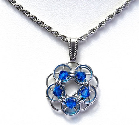Capri Blue Swarovski Crystal Flower Pendant