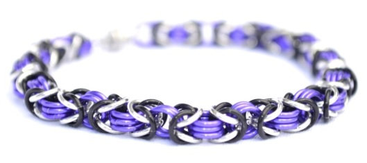 Purple, Black, & Silver Chain Bracelet