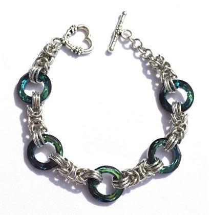 Silver Chain & Bermuda Blue Swarovksi Braclet