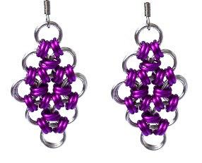 Silver & Magenta Diamond Shaped Earrings