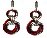 Candy Apple & Silver Spiral Earrings