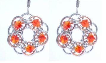 Fire Opal Swarovski Crystal Flower Earrings