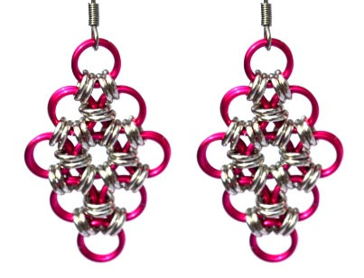 Hot Pink & Silver Diamond Shaped Earrings