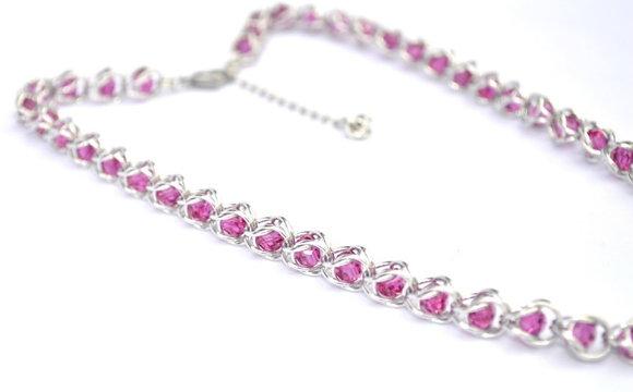 Captured Fuchsia Swarovski Crystal Necklace