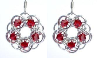 Siam Swarovski Crystal Flower Earrings