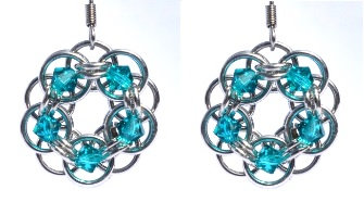 Blue Zircon Swarovski Crystal Flower Earrings
