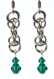 Emerald Green & Silver Earrings