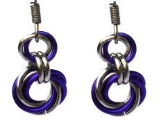 Purple & Silver Spiral Earrings