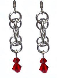 Ruby Red & Silver Earrings