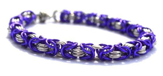 Purple & Silver Chain Bracelet