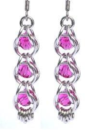 Captured Fushia Swarovski Crystal Earrings