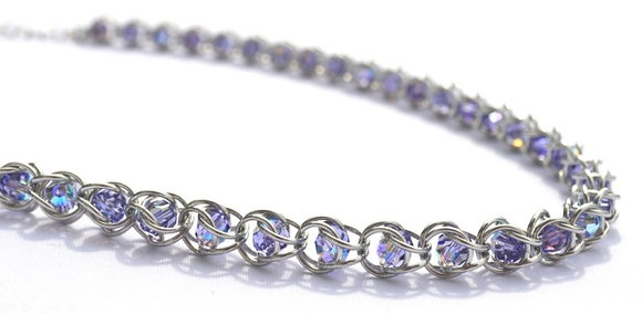 Captured Tanzanite Swarovski Crystal Necklace