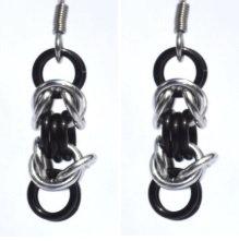 Mini Black and Silver Byzantine Earrings