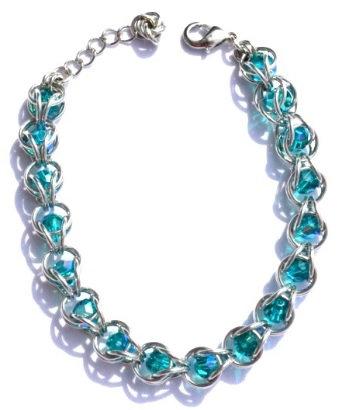 Captured Blue Zircon Swarovski Crystal Bracelet