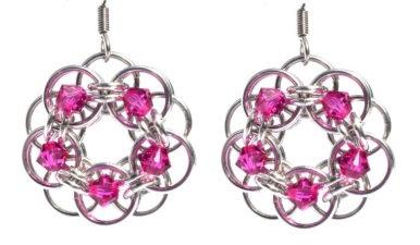 Fushia Swarovski Crystal Flower Earrings