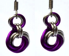 Magenta & Silver Spiral Earrings